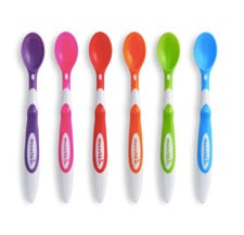Six Munchkin soft-tip infant spoons in rainbow colours