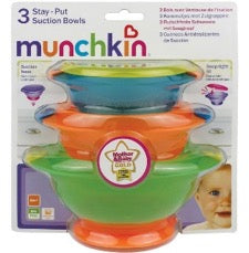 Pack of Munchkin stay-put suction bowls for babies