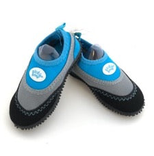 pair of Tickle Toes aqua shoes in blue and grey