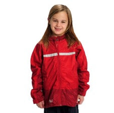 Smiling girl wearing Tuffo adventure rain jacket in red