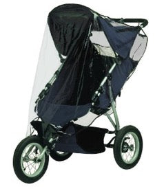 jogger stroller with a Jolly Jumper Weathershield over it