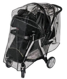 Travel system stroller in black with Jolly Jumper weathershield draped over it