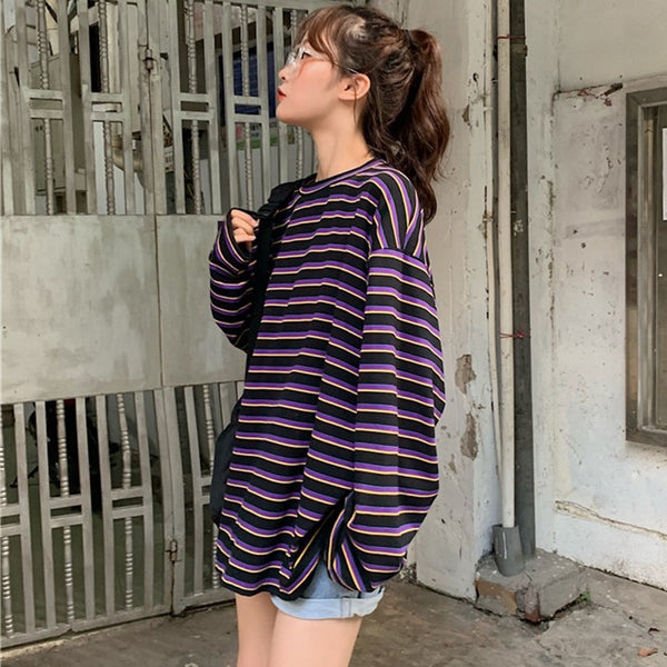 HALLE Striped Long Sleeve Shirt