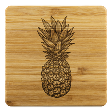 Load image into Gallery viewer, [Free Shipping] 4 piece Bamboo Coasters - Pineapple