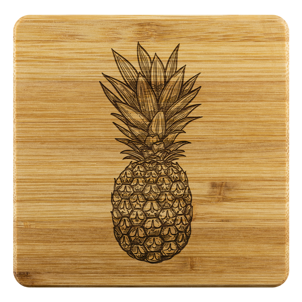 [Free Shipping] 4 piece Bamboo Coasters - Pineapple