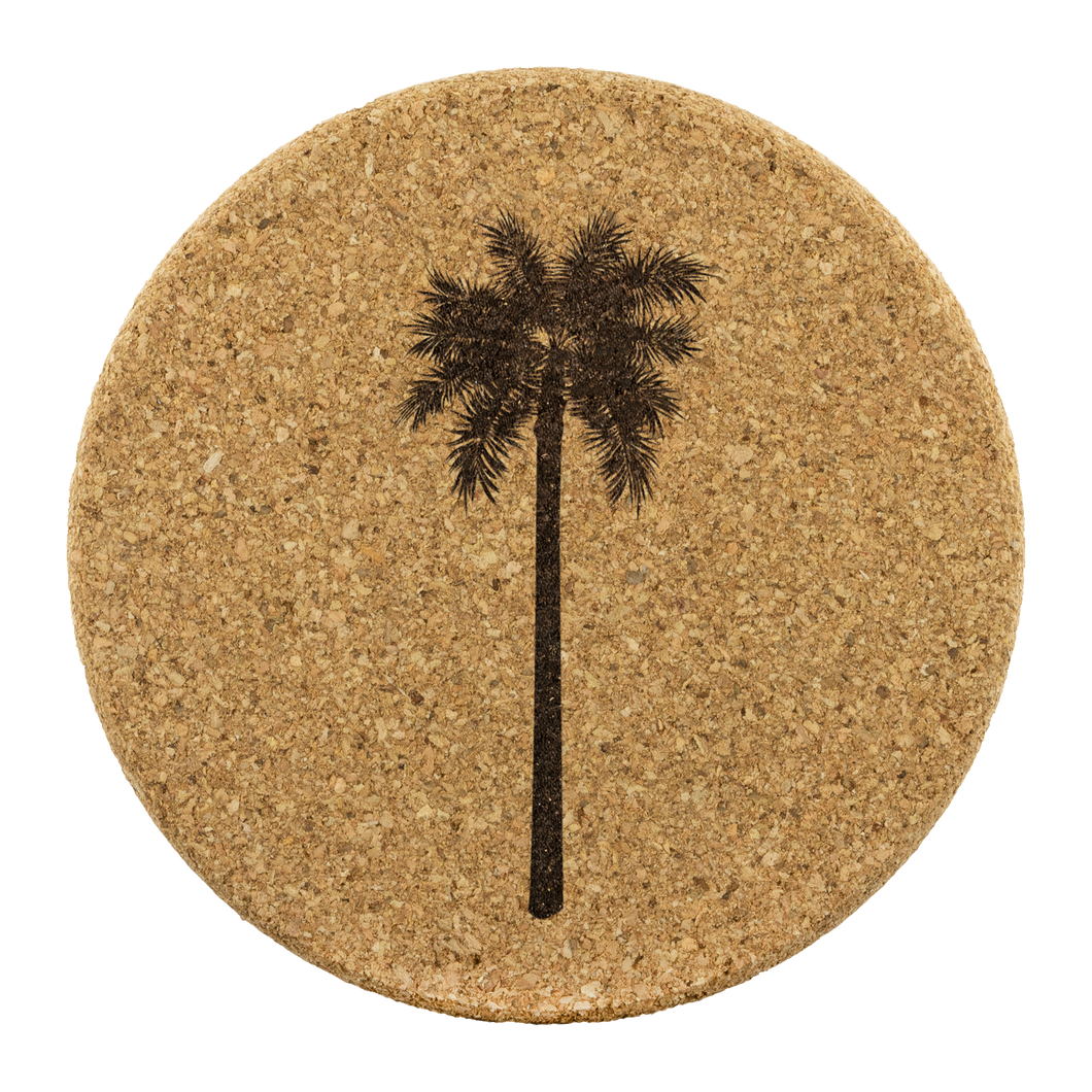 [Free Shipping] 4 piece Cork Coasters  - Palm Tree