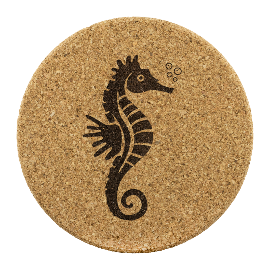 [Free Shipping] 4 piece Cork Coasters  - Seahorse