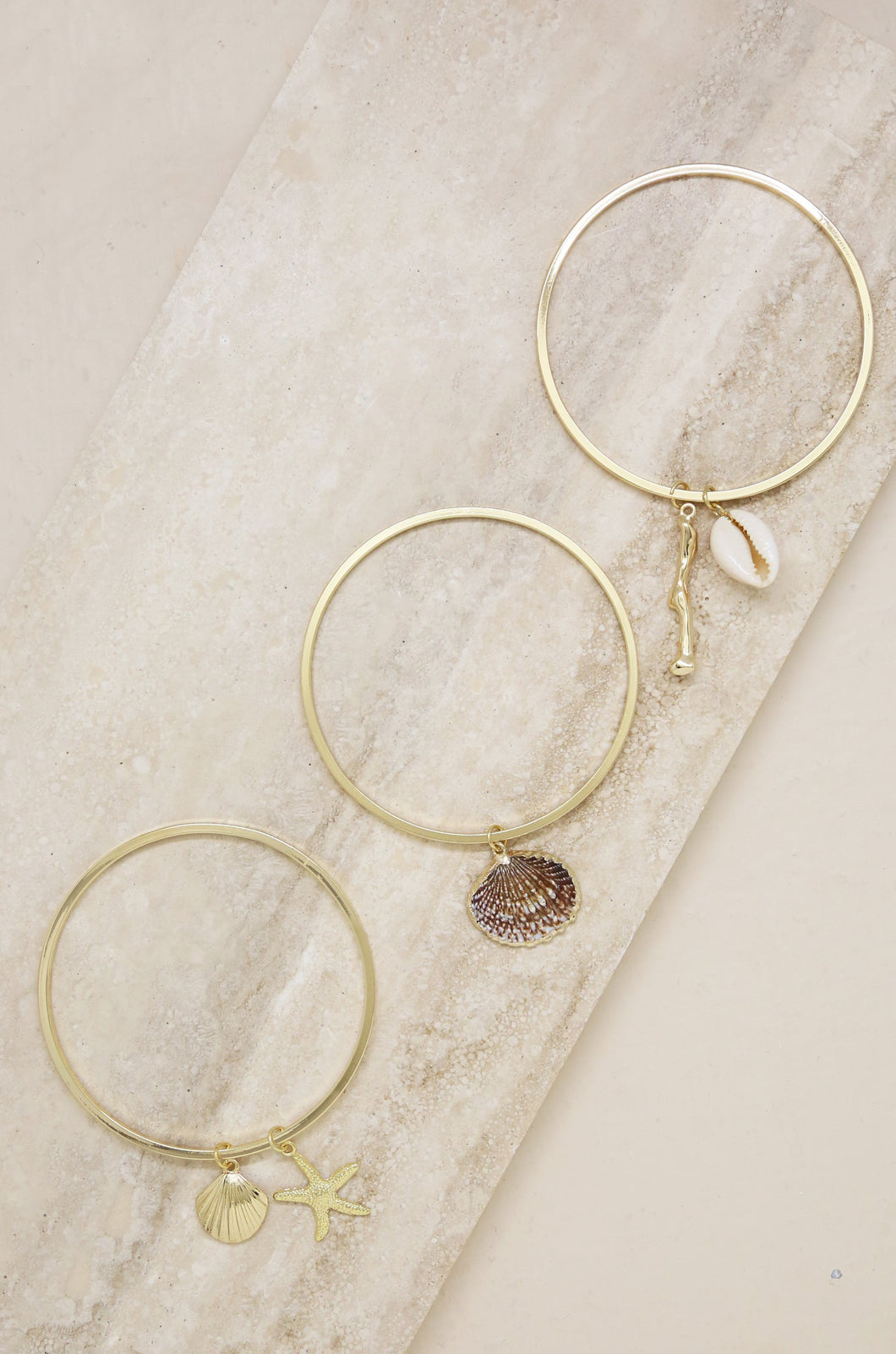 [Free Shipping] 18k Gold Beach life Bangle 3 sets
