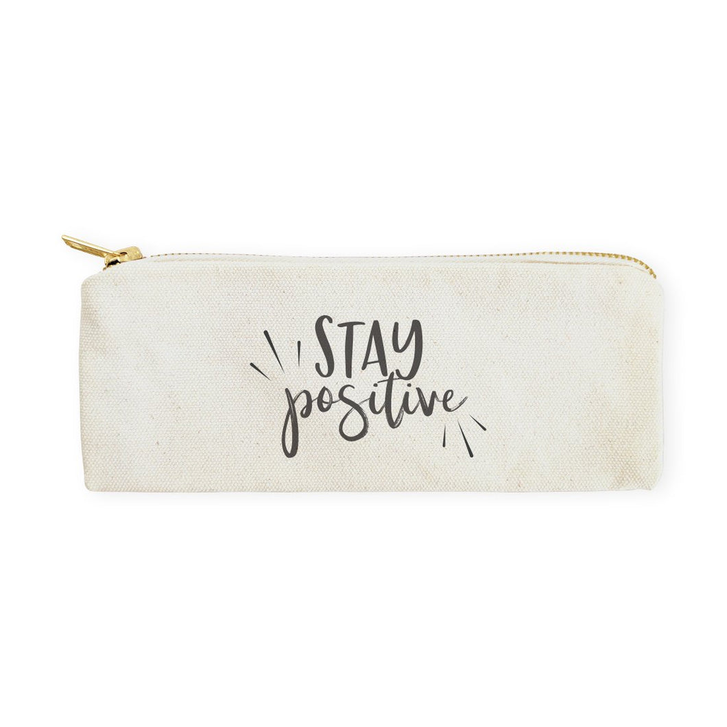 [Free Shipping] Cotton Canvas Pencil Case - Stay Positive