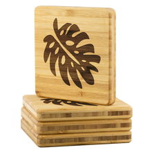 Load image into Gallery viewer, [Free Shipping] 4 piece Bamboo Coasters - Monstera