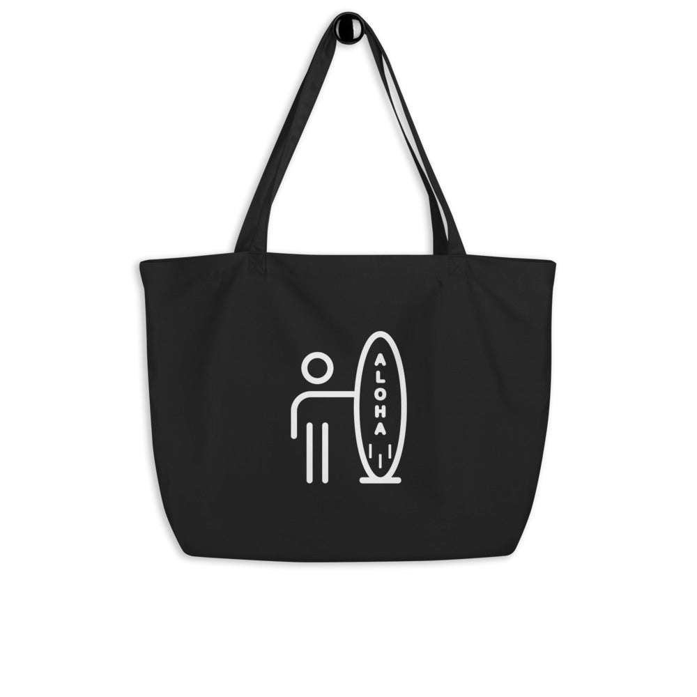 [Free Shipping] Large Organic Tote Bag - Aloha Surf (Black)