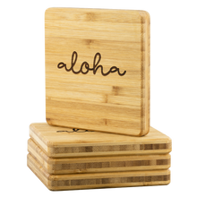 Load image into Gallery viewer, [Free Shipping] 4 piece Bamboo Coasters - aloha