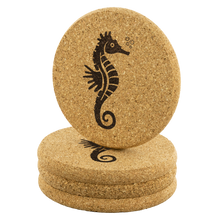 Load image into Gallery viewer, [Free Shipping] 4 piece Cork Coasters  - Seahorse