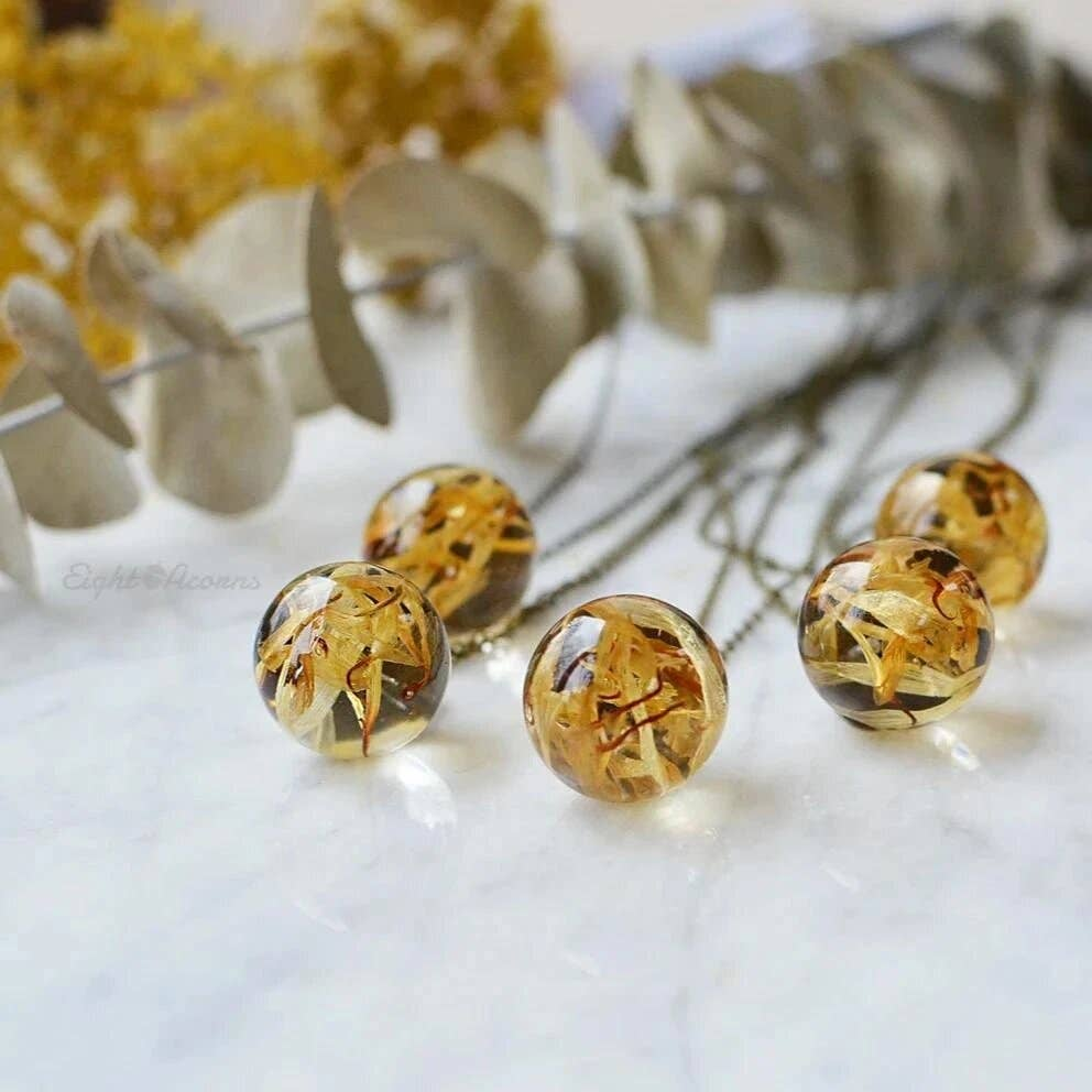 Marigold Flower Sphere Necklace