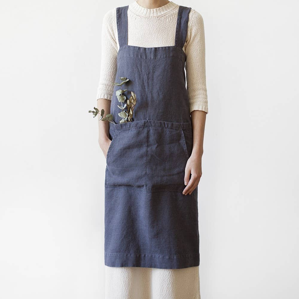 Linen Pinafore Apron - Dark Grey