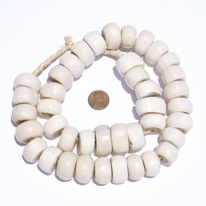 Large Polished Kenya White Bone Beads