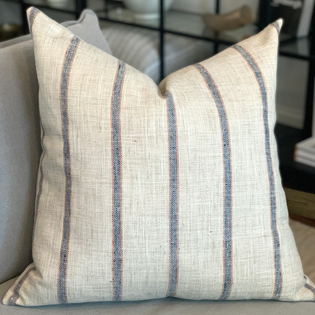 Striper Pillow, Indigo & Clay - 22