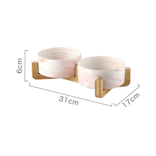 Double ceramic bowl Pink Marble 850 ml