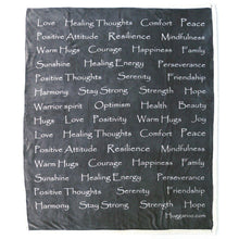 Load image into Gallery viewer, NEW - Huggaroo Healing Thoughts Sherpa Blanket, 60 x 50 inch-HFSB1HTBT