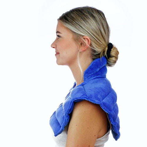 Huggaroo Neck Wrap Microwavable Heat Pad - Weighted, Lavender, Blue-HNWV2BLUE