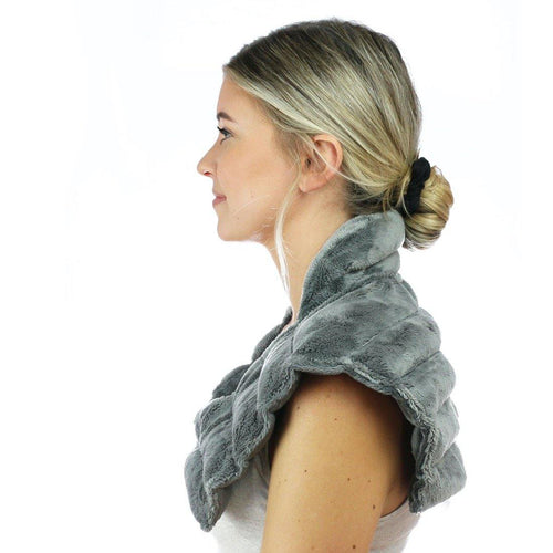 Huggaroo Neck Wrap Microwavable Heat Pad - Weighted, Lavender, Grey-HNWV2GREY