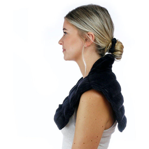 Huggaroo Neck Wrap Microwavable Heat Pad - Weighted, Unscented-HNWV2BLACK