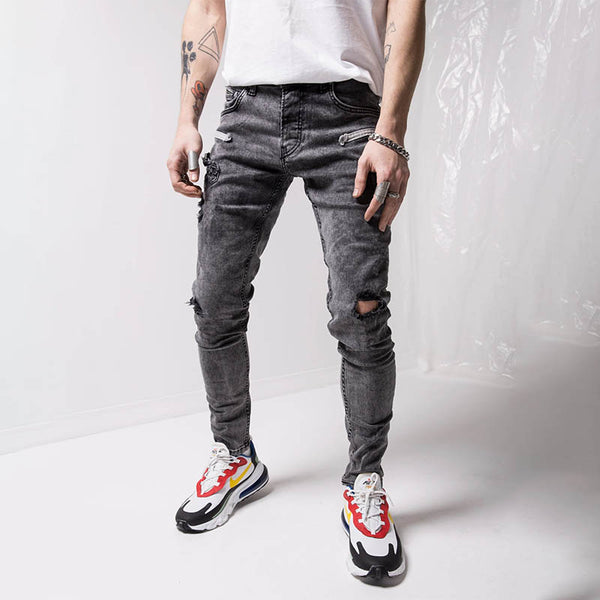Men's new plain fashion trend ripped skinny jeans