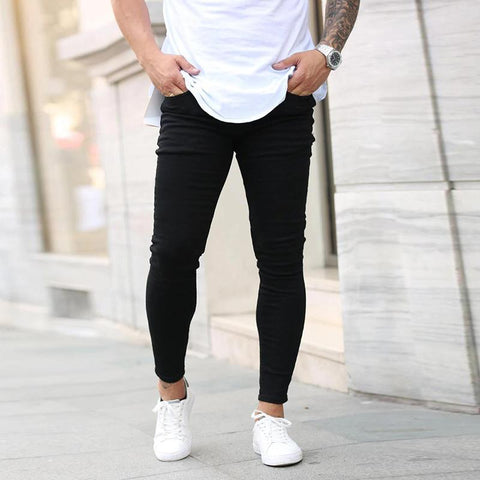 Men's black slim denim trousers