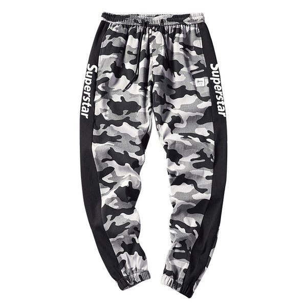 Men's fashion casual camouflage letter print slim fit trousers