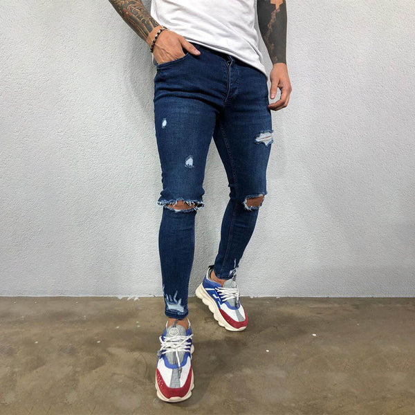Mens New Fashion Versatile Tight Skinny Stretch-Leg Jeans