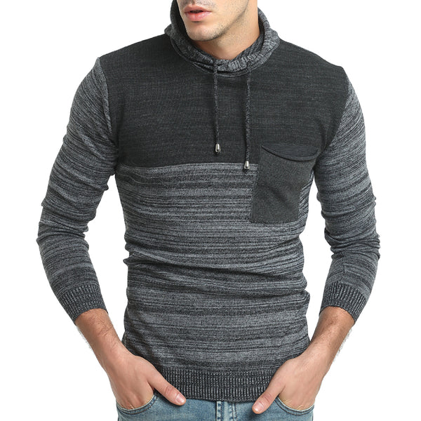 Men's Fashion Color Block Hooded Long Sleeve Slim Knit