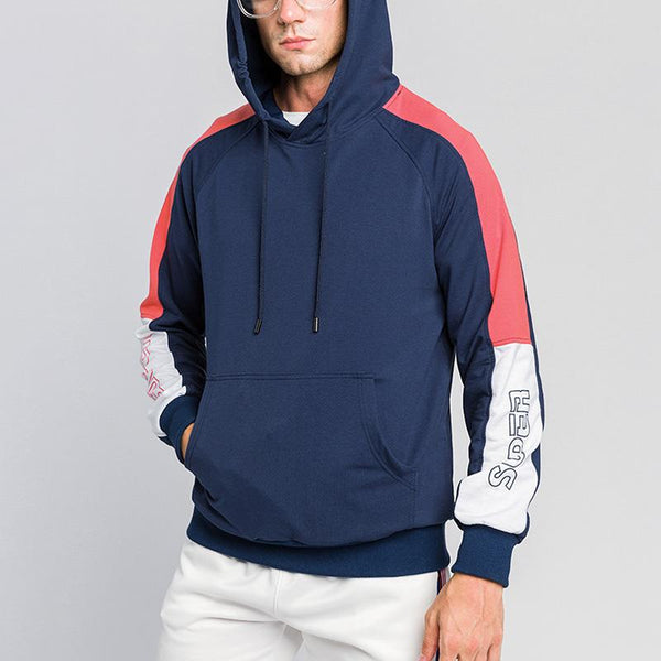 Men's color block letters casual hooded sweater