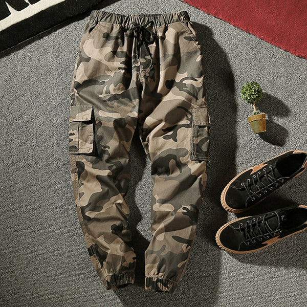 Men's fashion casual washed lace-up trousers