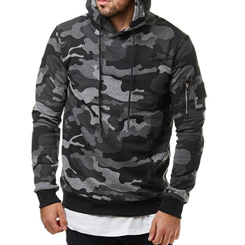 Men's camouflage casual sports hooded sweatershirt