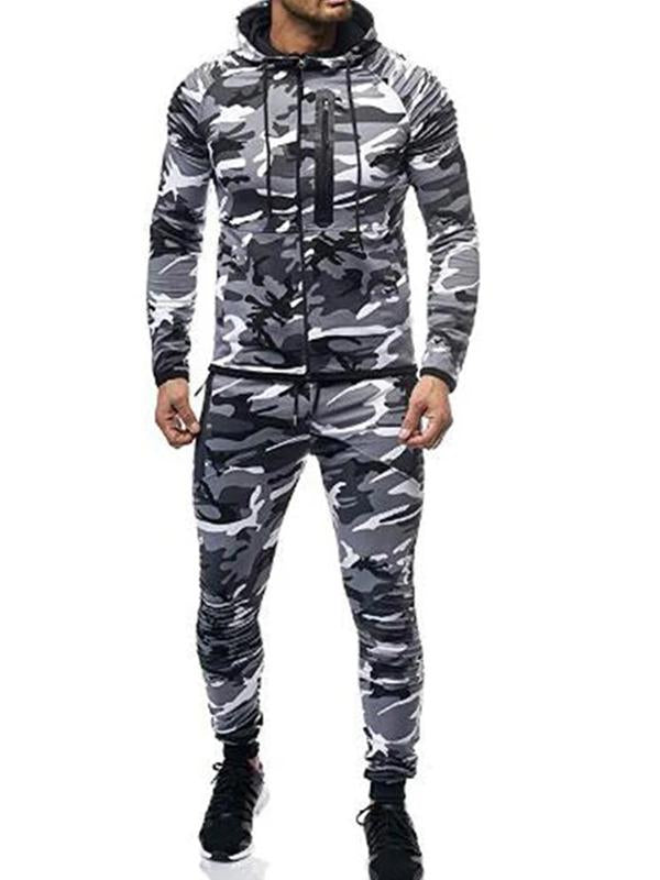 Mens casual camouflage pleated long sleeve two-piece suit