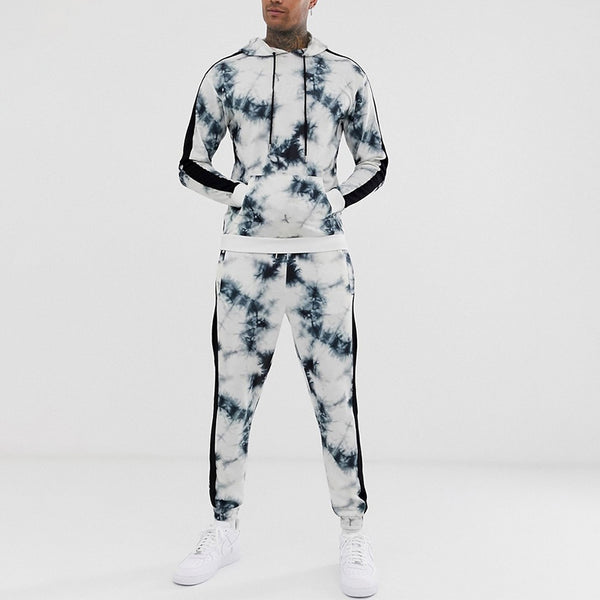 Men's casual digital printing hooded two-piece suit
