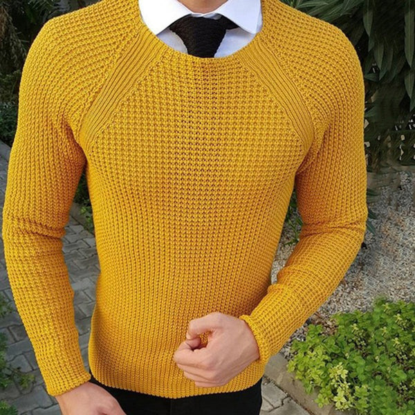 Men's fashion casual plain slim long sleeve round neck sweater