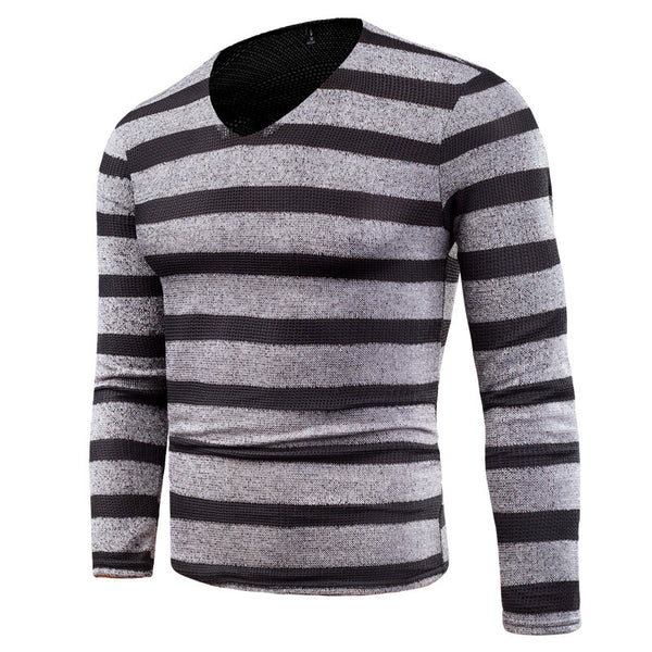 Men's new plain long-sleeved v-neck mesh bottoming shirt