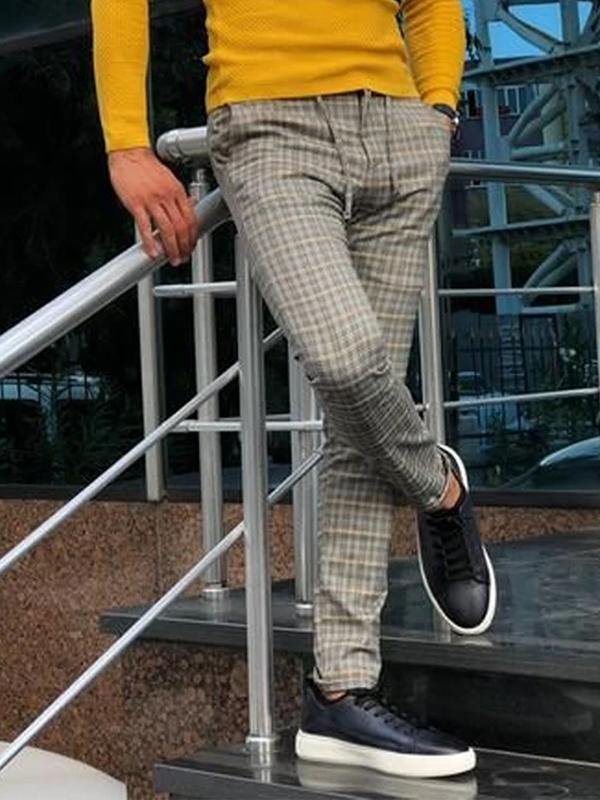 Mens business casual check slim trousers