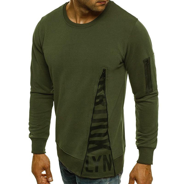 Men's slim round stitching long sleeve T-shirt