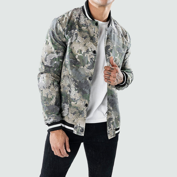 Bunivo Camouflage Snake Print Stand Collar Casual Fashion Jacket