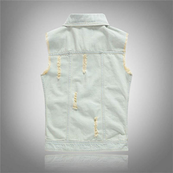 MANFLARE - Men's plain fashion retro ripped vest denim jacket