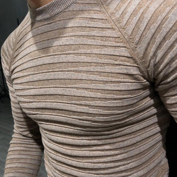 Men's plain o-neck striped knitted sweater