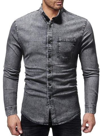 MENSCASE - Men's plain casual washed shredded sleeveless denim jacket