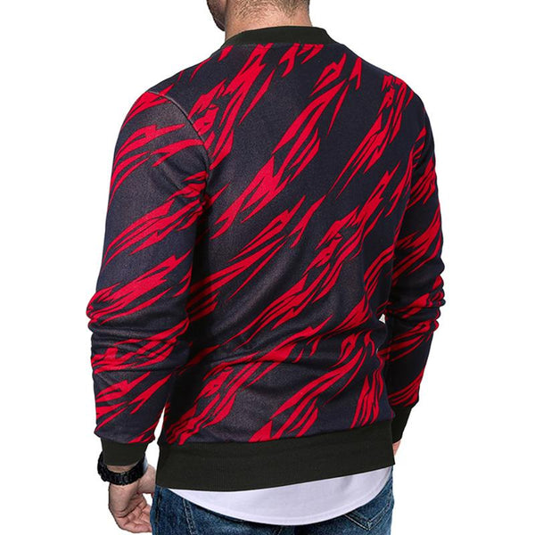 Men's o-neck print long-sleeved velvet sweater