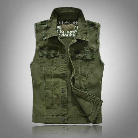 MENSCASE - Men's plain fashion casual vest denim jacket