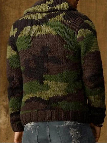 Mens Fashion Camouflage Knitted Jacket