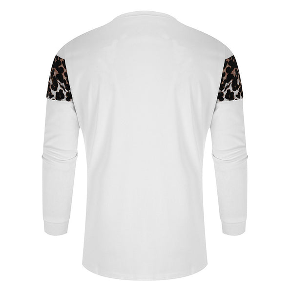 MENSCASE - Mens Leopard Patchwork Long Sleeve T-Shirt
