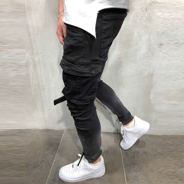 Mens new plain fashion pocket casual trousers
