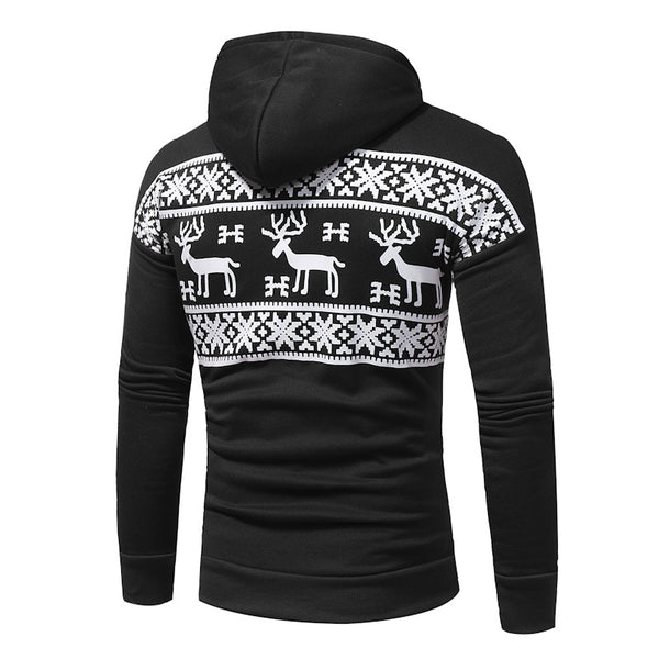 Men's fashion casual printed hooded sweater